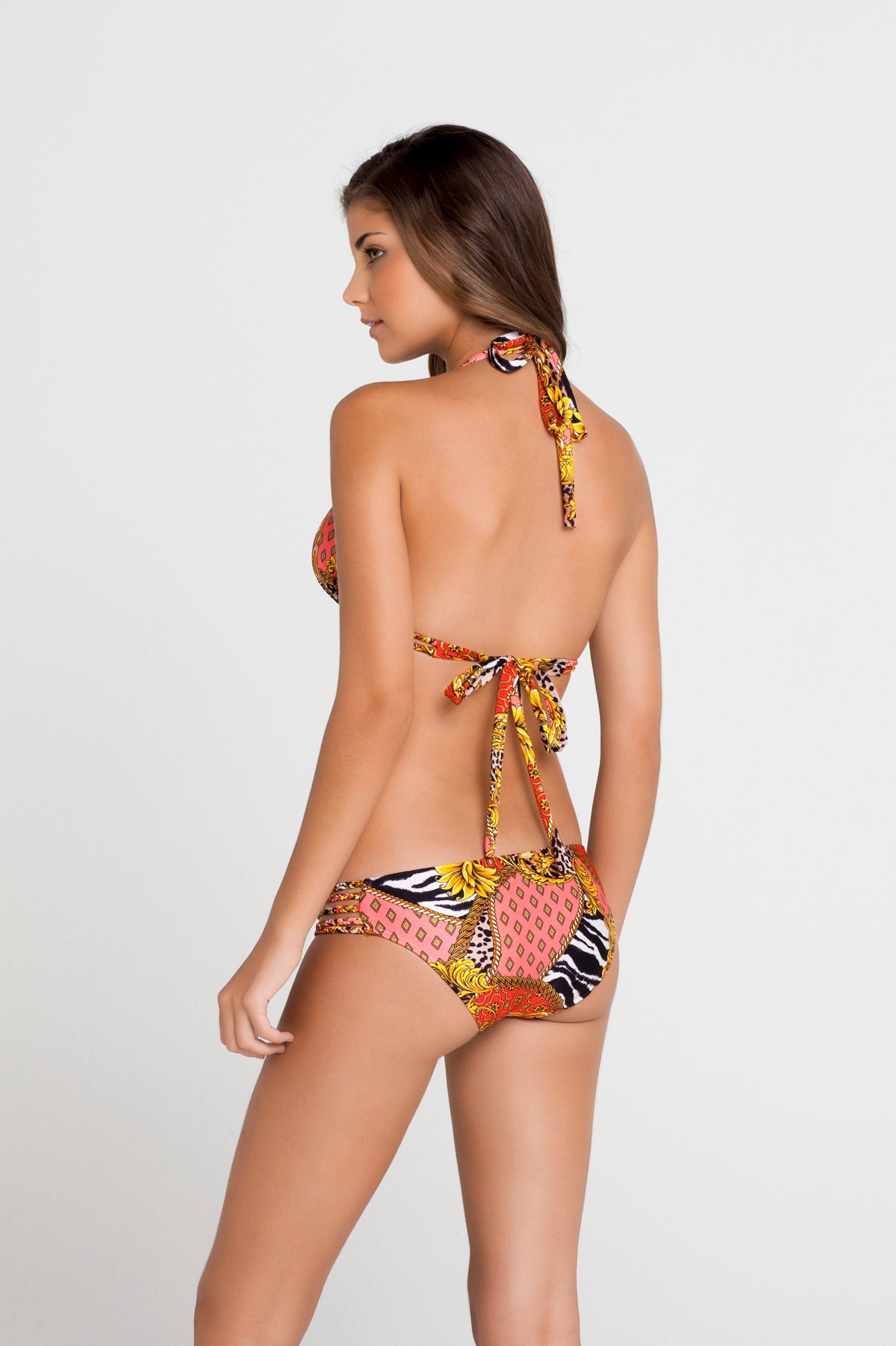 DANCING IN PARADISE - Triangle Halter Top & Braided Side Full Bottom • Multicolor