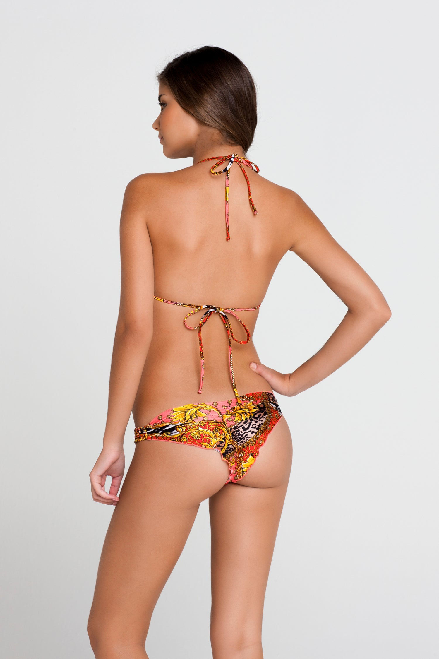 DANCING IN PARADISE - Molded Push Up Bandeau Halter Top & Multi Braid Brazilian Ruched Back Bottom • Multicolor