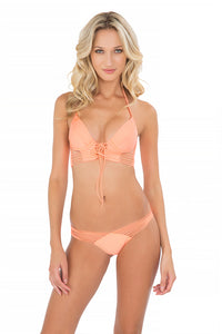 VERANO DE RUMBA - Something Sexy Underwire Corset & Strappy Brazilian Ruched Back Bottom • Miami Peach