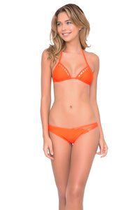 VERANO DE RUMBA - Suspended Strings Triangle Top & Strappy Front Side Moderate Bottom • Flame
