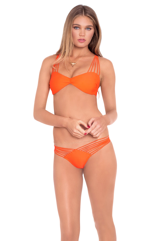 VERANO DE RUMBA - Multi Cross Strap Bra Top & Strappy Brazilian Ruched Back Bottom • Flame