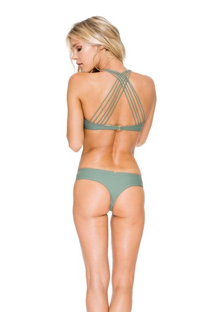 VERANO DE RUMBA - Multi Cross Strap Bra Top & Strappy Cut Out Tiny Bottom • Army
