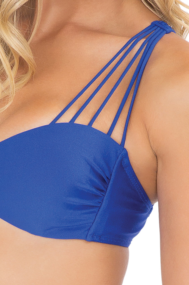 VERANO DE RUMBA - Multi Cross Strap Bra Top & Strappy Front Side Moderate Bottom • Electric Blue