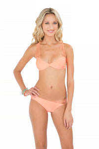 VERANO DE RUMBA - Multi Cross Strap Bra Top & Strappy Front Side Moderate Bottom • Miami Peach (874493345836)