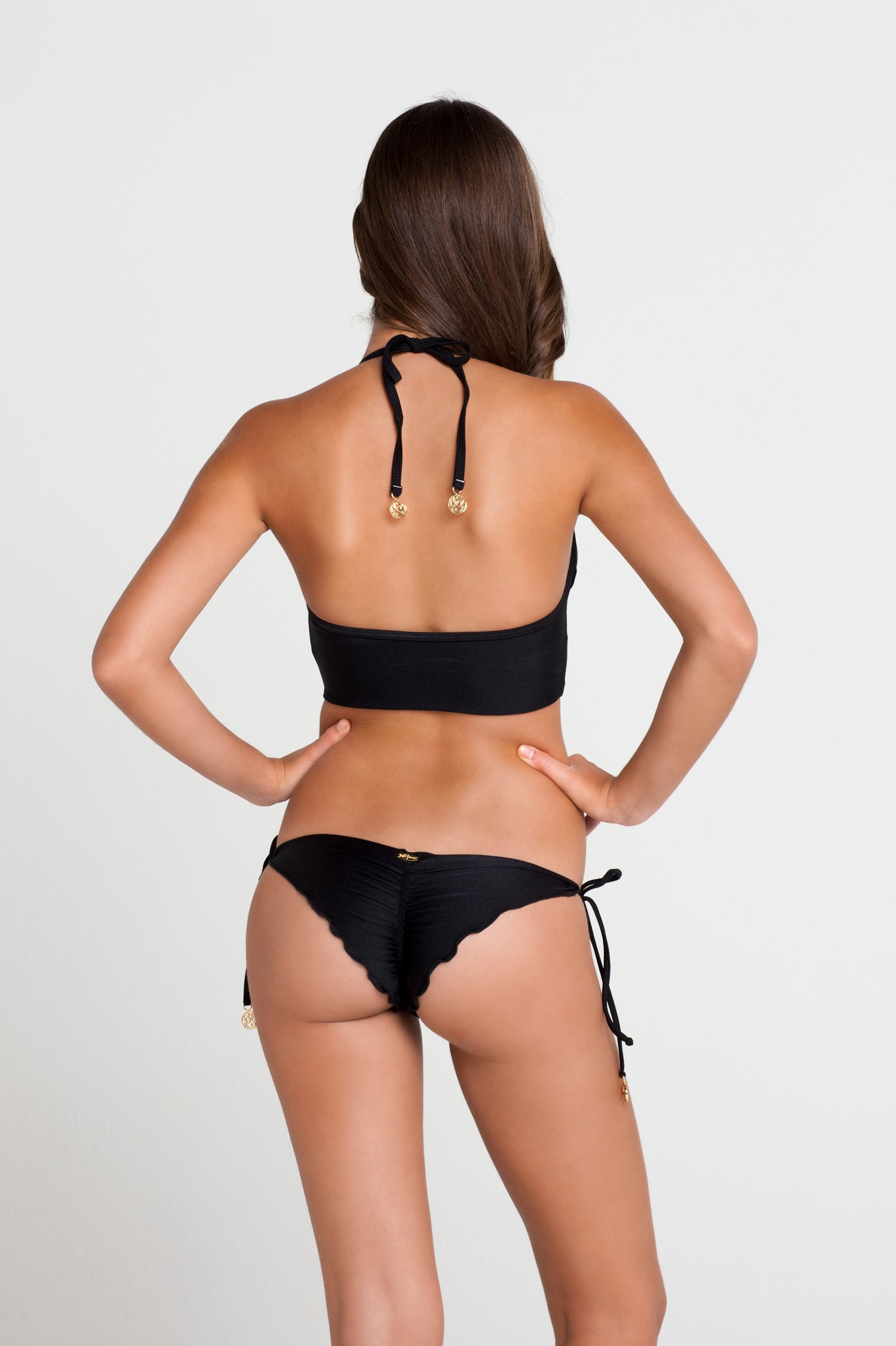 RITMO DE MI SALSA - Something Sexy Underwire Corset & Wavey Ruched Back Brazilian Tie Side Bottom • Black