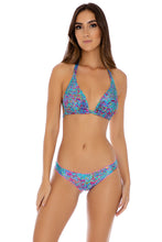 AGUA DULCE - D Cup Triangle Halter & Full Ruched Back Bottom • Multicolor