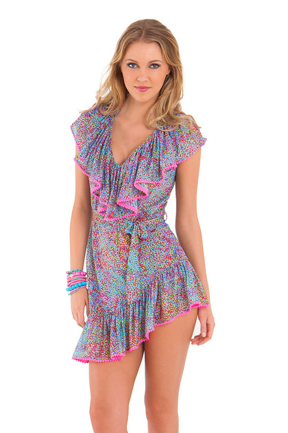 AGUA DULCE - Unwrap Me Mini Dress • Multicolor