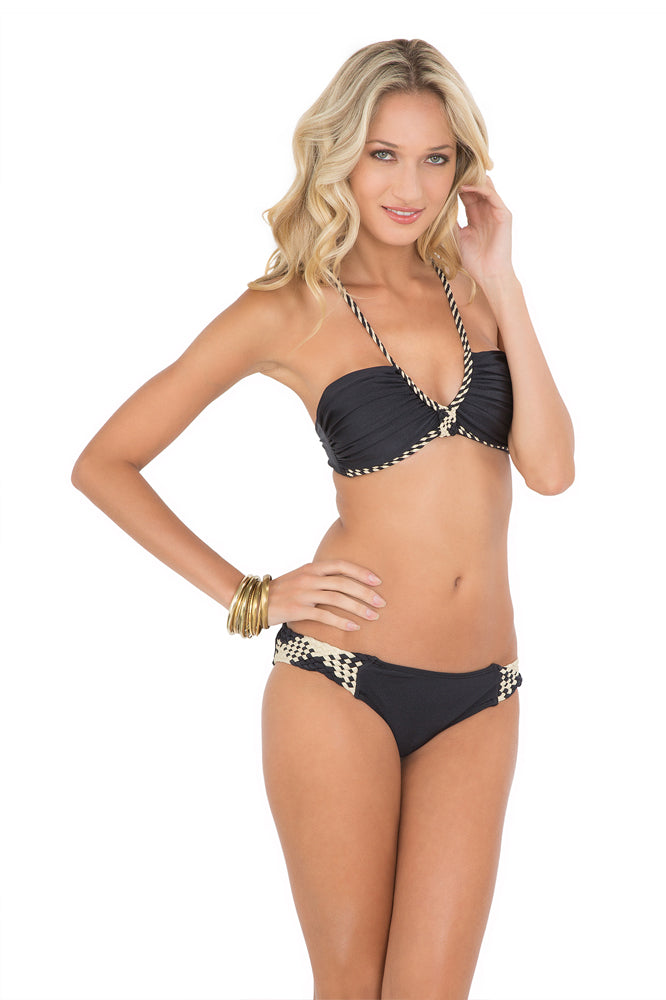 CHAMPAGNE SPARKLE - Intertwine Scoop Halter Top & Intertwine Full Bottoms • Black