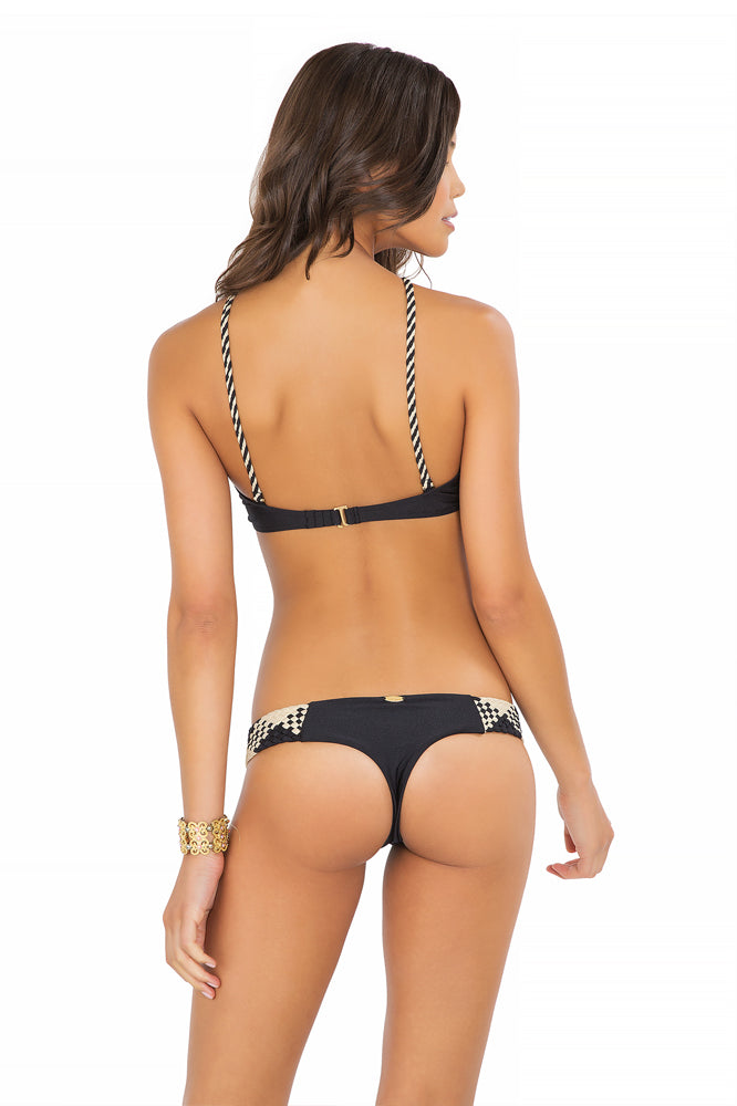 CHAMPAGNE SPARKLE - Intertwine Scoop Halter Top & Tiny Bottom • Black