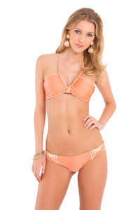 CHAMPAGNE SPARKLE - Intertwine Scoop Halter Top & Tiny Bottom • Beachy Coral