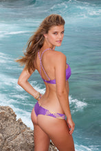 CHAMPAGNE SPARKLE - Intertwine Scoop Halter Top & Tiny Bottom • Jellybean Purple