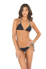 CHAMPAGNE SPARKLE - Triangle Top & Intertwine Ruched Tie Side Minimal Coverage • Black