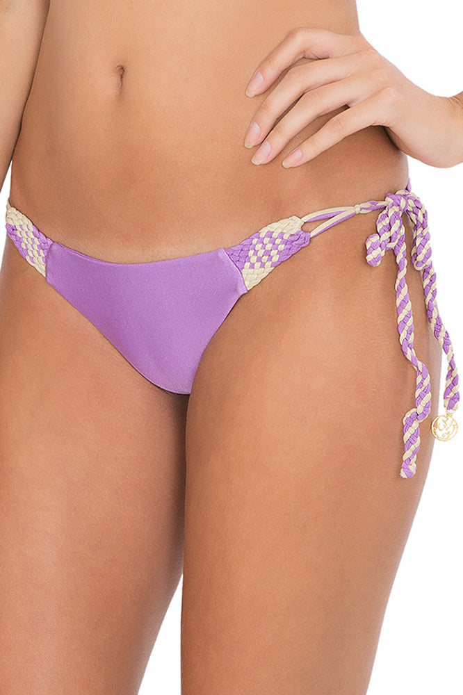 CHAMPAGNE SPARKLE - Triangle Top & Intertwine Ruched Tie Side Minimal Coverage • Jellybean Purple