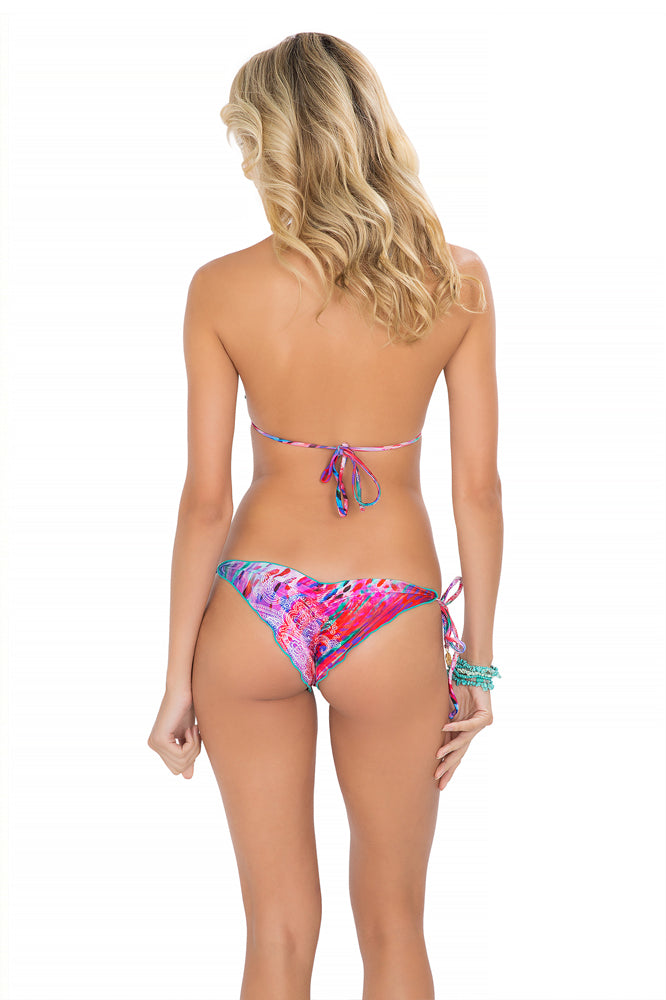 AMANECER - Wavey Triangle Top & Wavey Ruched Back Brazilian Tie Side Bottom • Multicolor