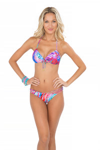 AMANECER - Molded Push Up Bandeau Halter Top & Strappy Front Side Moderate Bottom • Multicolor (865197948972)