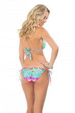 PEQUEÑO PARAISO - Triangle Halter Top & Wavey Ruched Back Full Tie Side Bottom • Multicolor