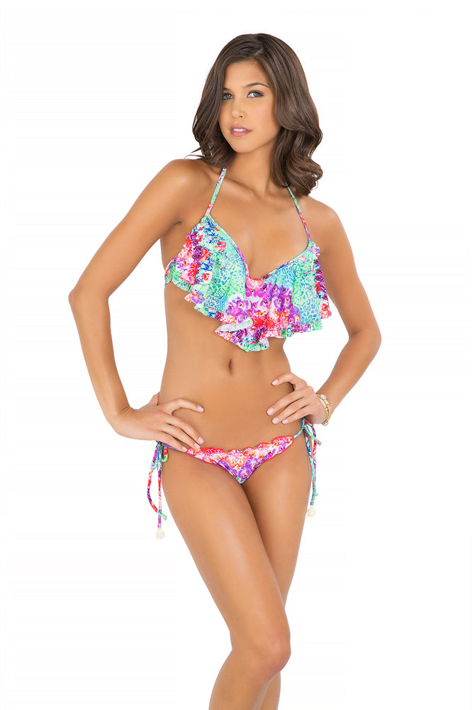 PEQUEÑO PARAISO - Cascade Push Up Underwire Top & Wavey Ruched Back Brazilian Tie Side Bottom • Multicolor