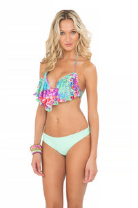 PEQUEÑO PARAISO - Cascade Push Up Underwire Top & Seamless Minimal Coverage Bottom • Mint Convertible