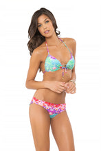 PEQUEÑO PARAISO - Molded Push Up Bandeau Halter Top & Sassy Cheeks Ruffle Bottom • Multicolor