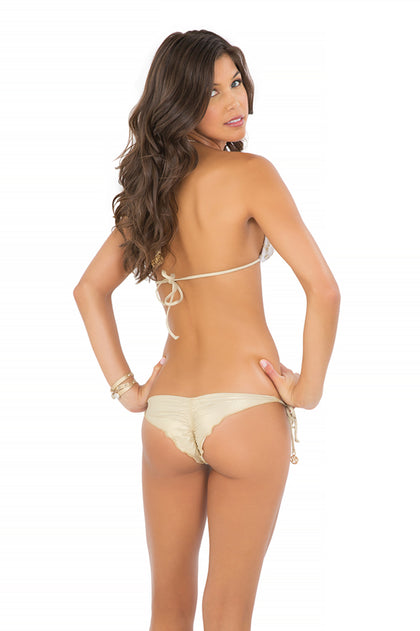DIAMANTES DE CORAL - Triangle Top & Wavey Ruched Back Brazilian Tie Side Bottom • White