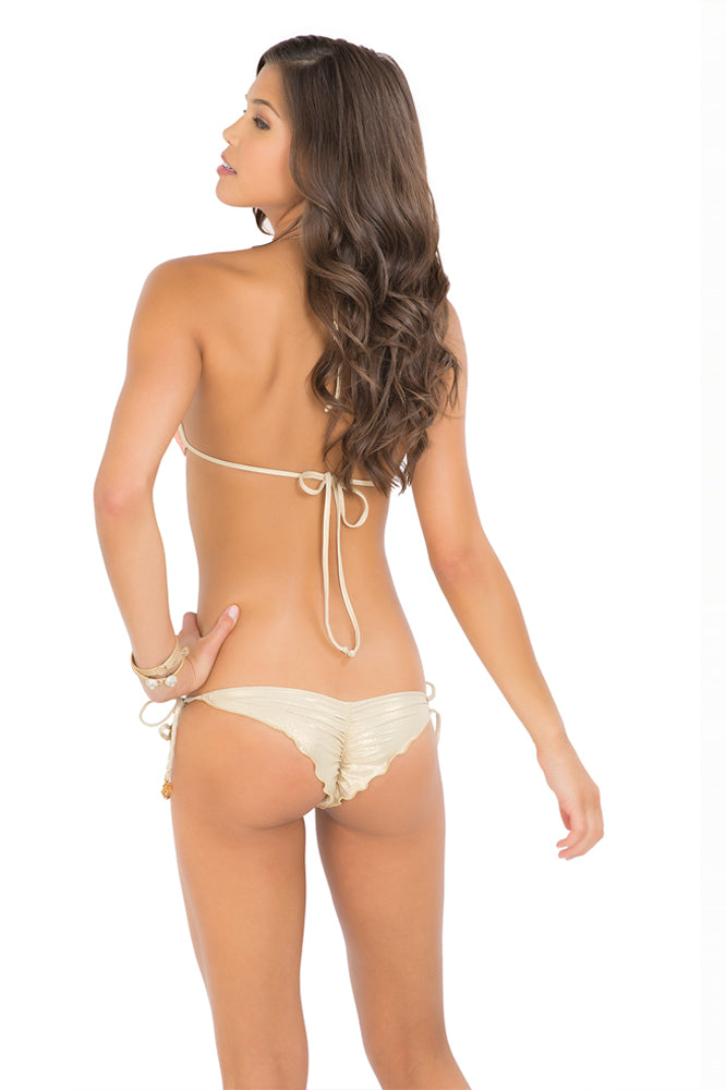 DIAMANTES DE CORAL - Molded Push Up Bandeau Halter Top & Wavey Ruched Back Brazilian Tie Side Bottom • Beachy Coral