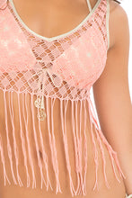 DIAMANTES DE CORAL - Flirty Fringe Tank Top & Wavey Ruched Back Brazilian Tie Side Bottom • Beachy Coral