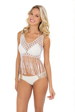 DIAMANTES DE CORAL - Flirty Fringe Tank Top & Braided Side Full Bottom • White