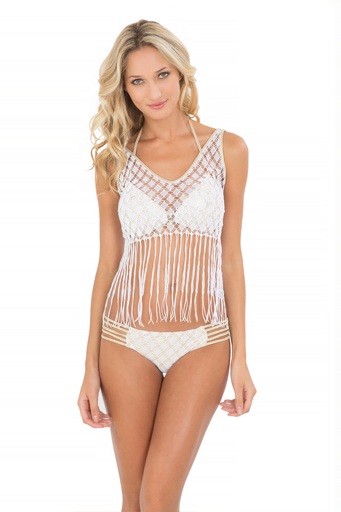 DIAMANTES DE CORAL - Flirty Fringe Tank Top & Braided Side Full Bottom • White (865245069356)