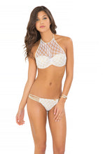 DIAMANTES DE CORAL - Crochet Sheer Front Underwire Push Up & Multi Braid Brazilian Ruched Back Bottom • White