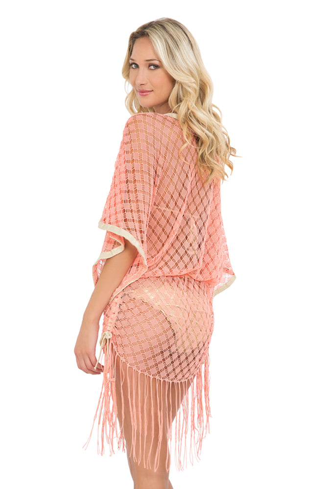 DIAMANTES DE CORAL - South Brach Fringe Dress • Beachy Coral