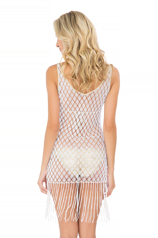 DIAMANTES DE CORAL - Flirty Fringe Dress • White