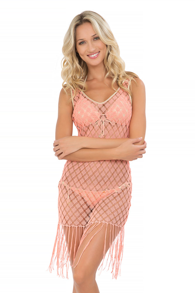 DIAMANTES DE CORAL - Flirty Fringe Dress • Beachy Coral (865242972204)
