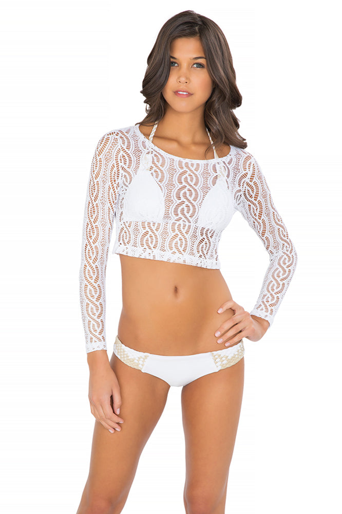 AMOR MARINERO - Long Sleeve Crop Top & Tiny Bottom • White