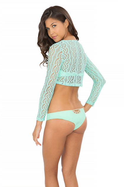 AMOR MARINERO - Long Sleeve Crop Top & Sexy Back Skimpy Bottom • Mint Convertible