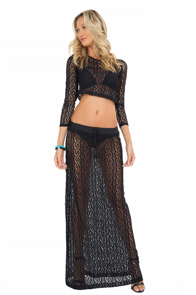 AMOR MARINERO - Long Sleeve Crop Top & Maxi Skirt • Black (865202274348)
