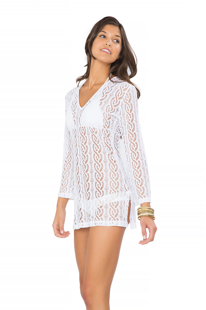 AMOR MARINERO - Plunge Dress • White
