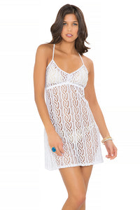 AMOR MARINERO - Tassel Back Mini Dress • White