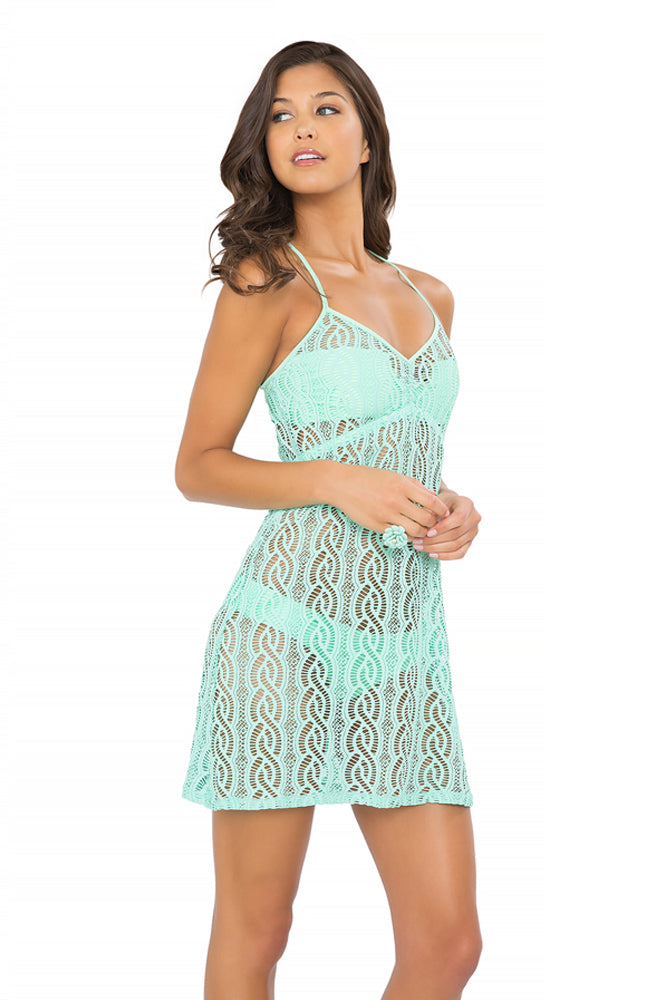 AMOR MARINERO - Tassel Back Mini Dress • Mint Convertible