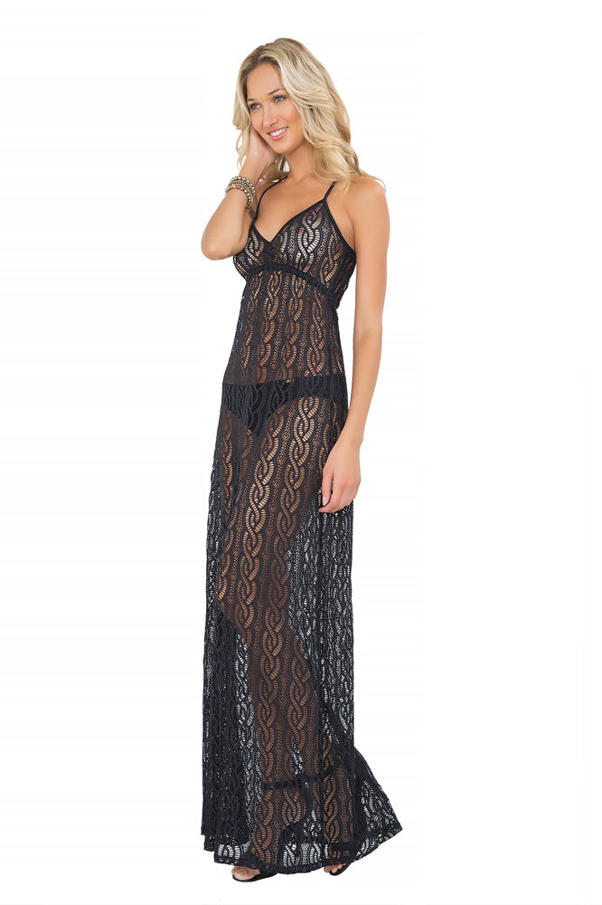 AMOR MARINERO - Tassel Back Maxi Dress • Black (865204109356)