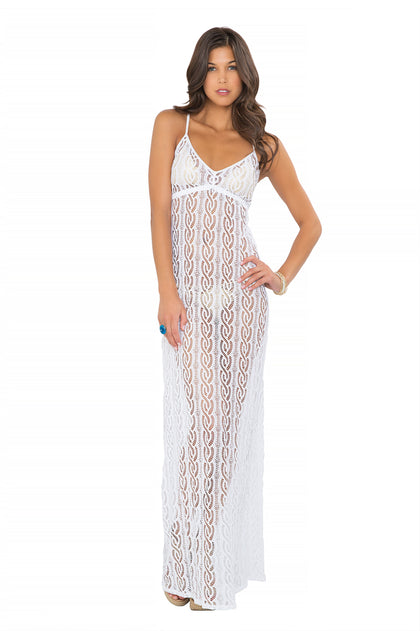AMOR MARINERO - Tassel Back Maxi Dress • White