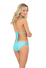 MIAMI NIGHTS - Triangle Halter Top & Full Bottom • Aruba Blue