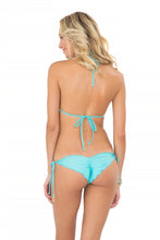 MIAMI NIGHTS - Molded Push Up Bandeau Halter Top & Wavey Ruched Back Brazilian Tie Side Bottom • Aruba Blue