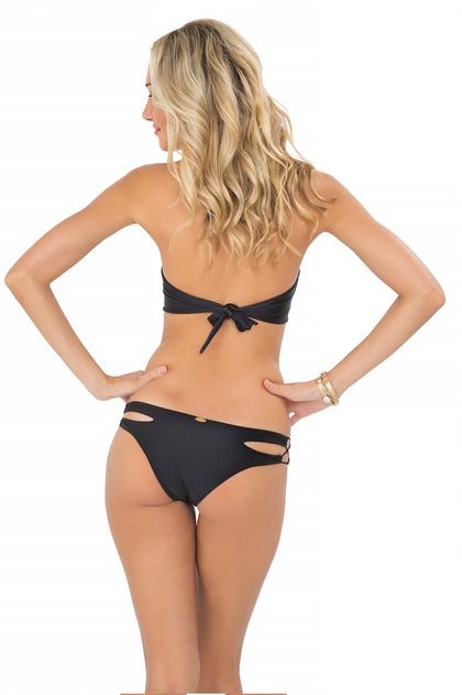 MIAMI NIGHTS - V Front Crochet Bandeau & Zig Zag Open Side Moderate Bottom • Black