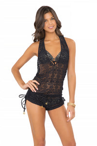 MIAMI NIGHTS - T Back Romper • Black