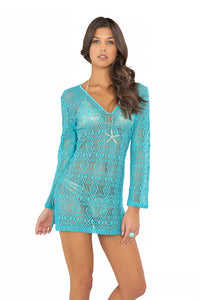MIAMI NIGHTS - Plunge Dress • Aruba Blue (865267974188)