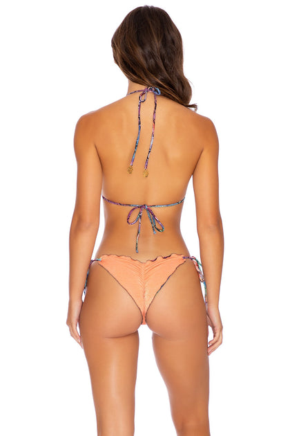 SINFUL - Triangle Top & Wavey Ruched Back Tie Side Bottom • Multicolor