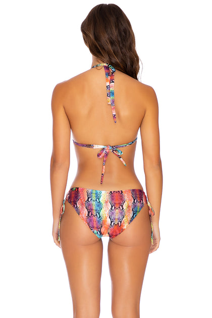 SINFUL - Triangle Halter Top & Drawstring Side Full Bottom • Multicolor