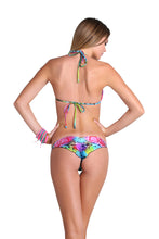 SEA SALT ANGEL - Molded Push Up Bandeau Halter Top & Strappy Brazilian Ruched Back Bottom • Multicolor