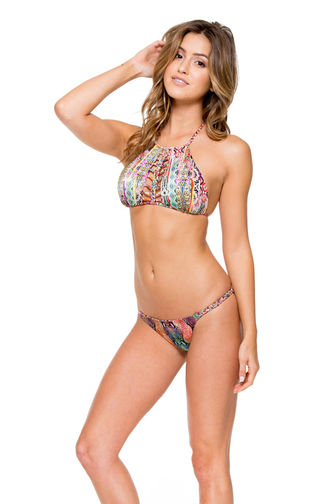 MY WAY - Strings To Braid Halter Top & Double Braid Moderate Bottom • Multicolor