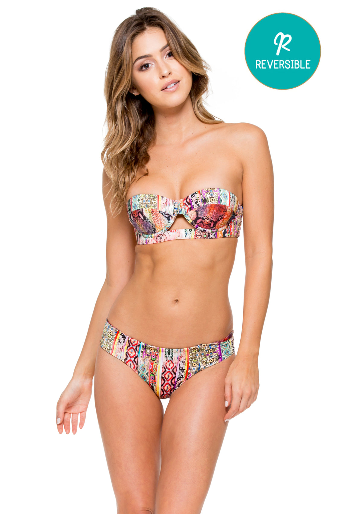 MY WAY - Cut Out Underwire Top & Tab Sides Full Bottom • Multicolor (874457694252)